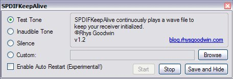 SPDIFKeepAlive Settings