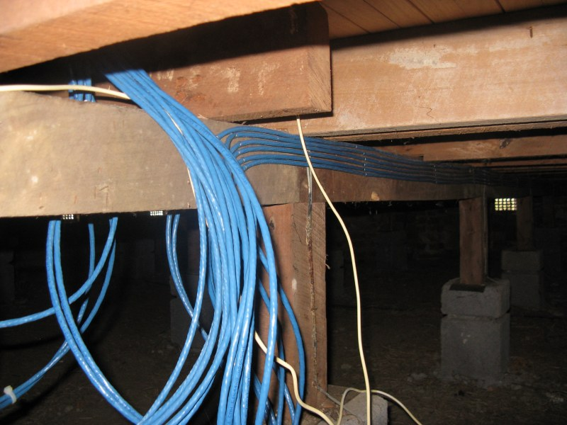 Cables under floor